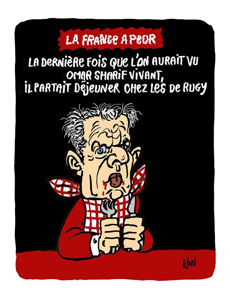 dessin d'actualité humoristique sur le scandale des dîners de François de Rugy et Omar Sharif
