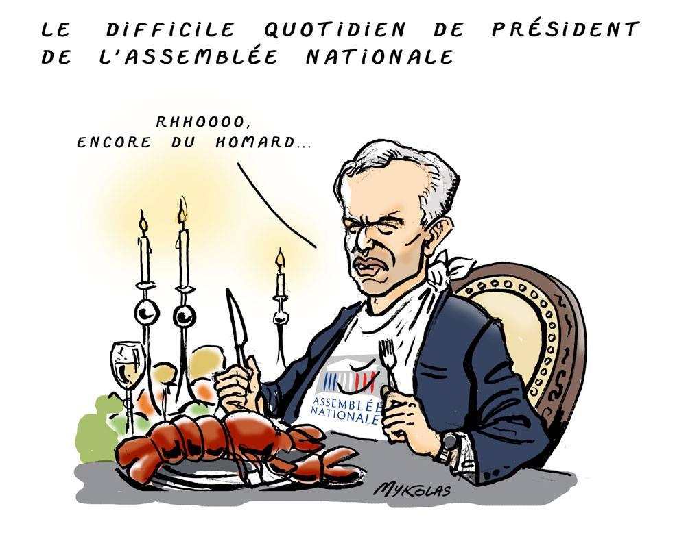 dessin d'actualité humoristique sur le scandale des dîners de François de Rugy