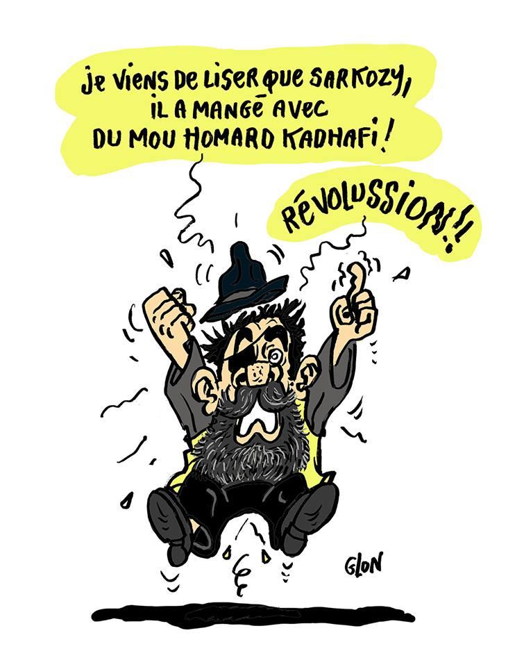 dessin d'actualité humoristique sur le scandale des dîners de François de Rugy, Jérôme Rodrigues et le scandale libyen concernant Nicolas Sarkozy