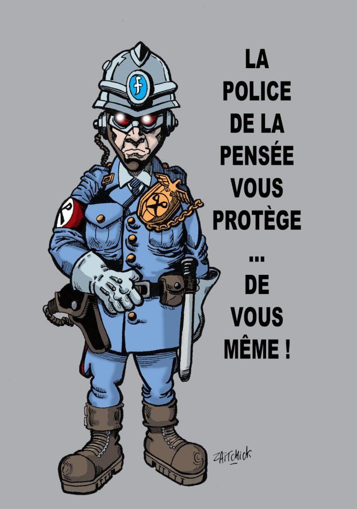 dessin humoristique de Zaïtchick sur la loi anti-haine et la police de la pensée