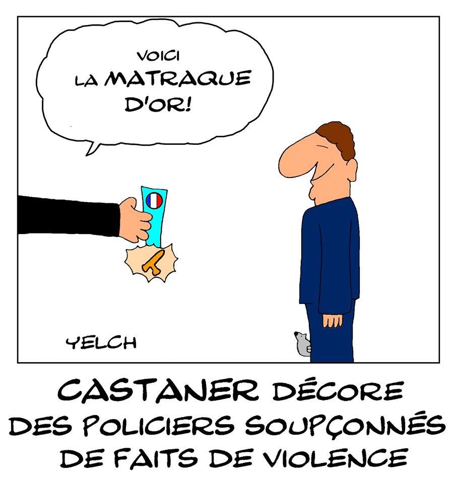 dessin de Yelch sur les décorations décernées à des policiers par Christophe Castaner
