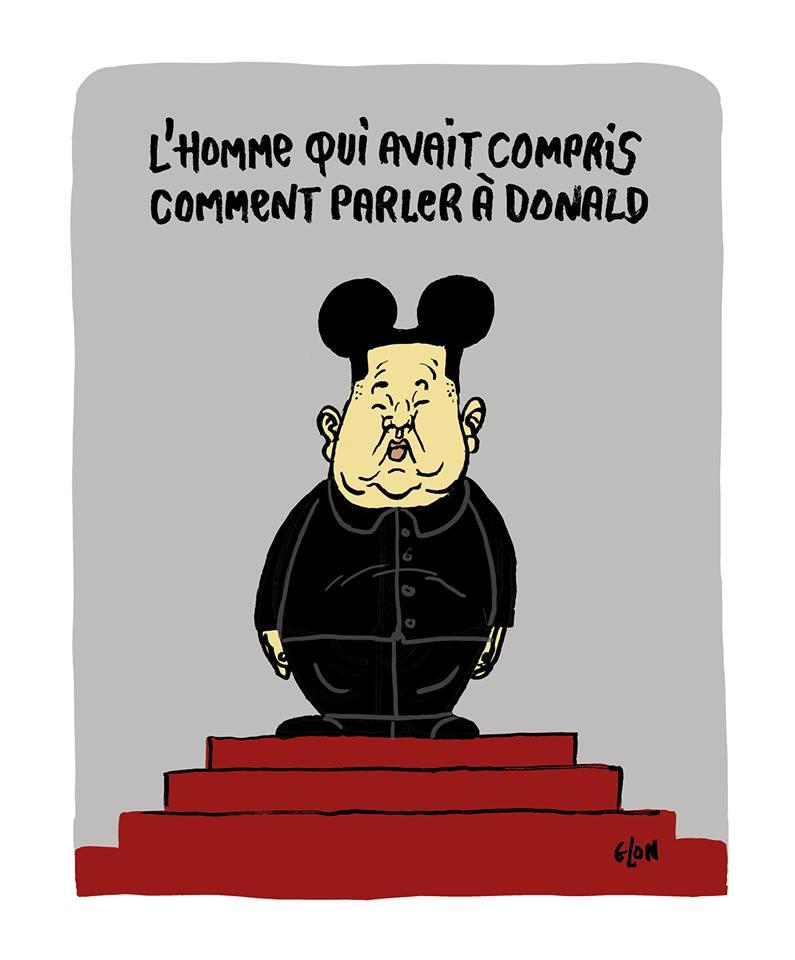 dessin d'actualité humoristique sur la rencontre entre Donald Trump et Kim Jong-un à la frontière Nord-Coréenne