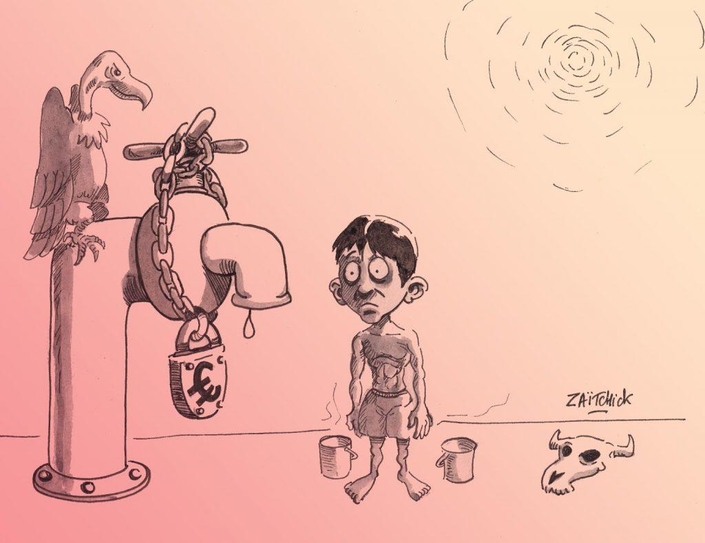 dessin humoristique de Zaïtchick sur la proposition de François de Rugy de faire payer l'eau plus cher en été