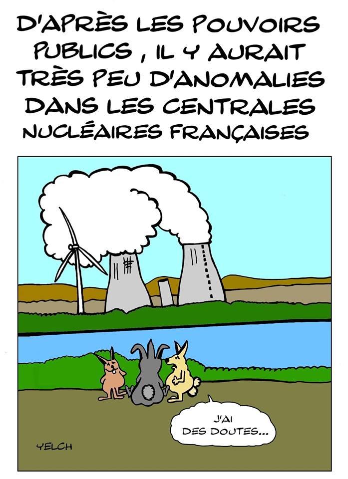 dessin de Yelch sur les anomalies dans les centrales nucléaires françaises