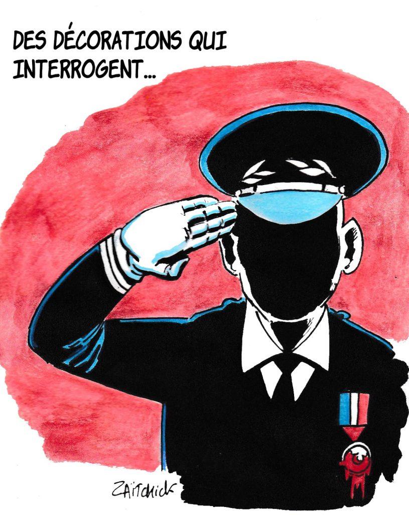 dessin humoristique de Zaïtchick sur les décorations décernées à des policiers par Christophe Castaner