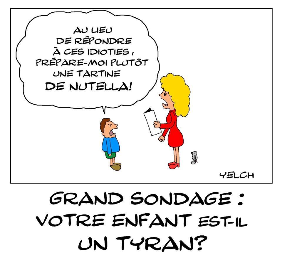 dessin de Yelch sur la tyrannie enfantine