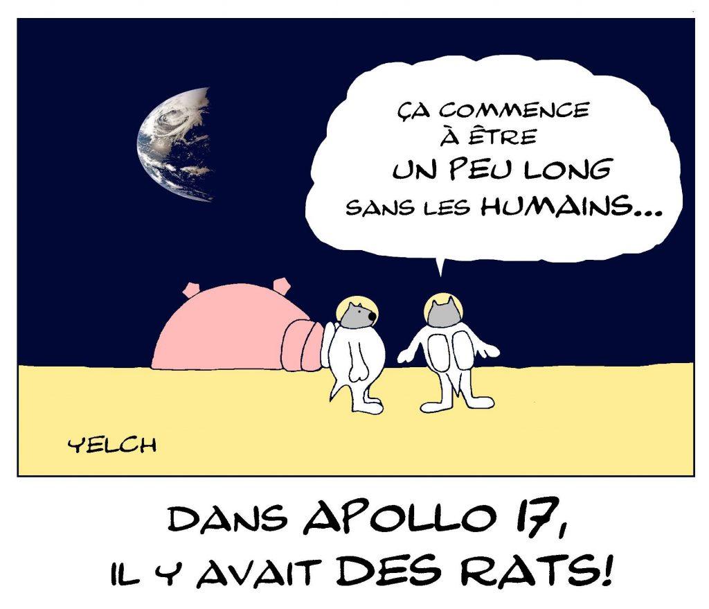 dessin de Yelch sur le cinquantenaire des premiers pas de l'homme sur la lune