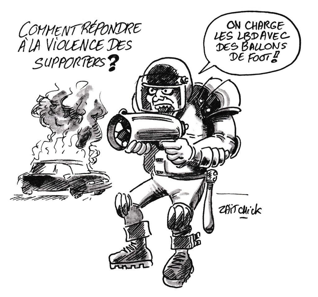 dessin humoristique de Zaïtchick sur les débordements des supporters algériens