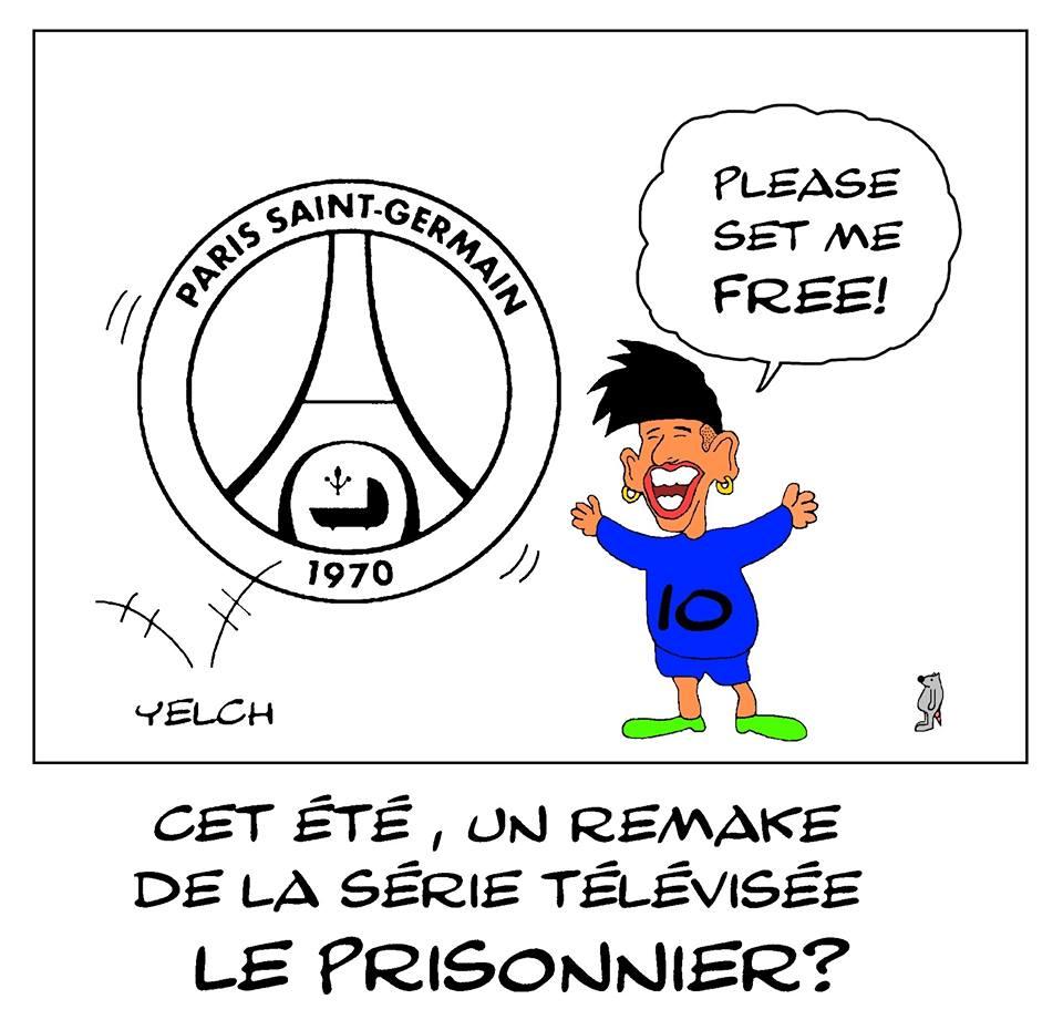dessin de Yelch sur le feuilleton Neymar au Paris Saint-Germain