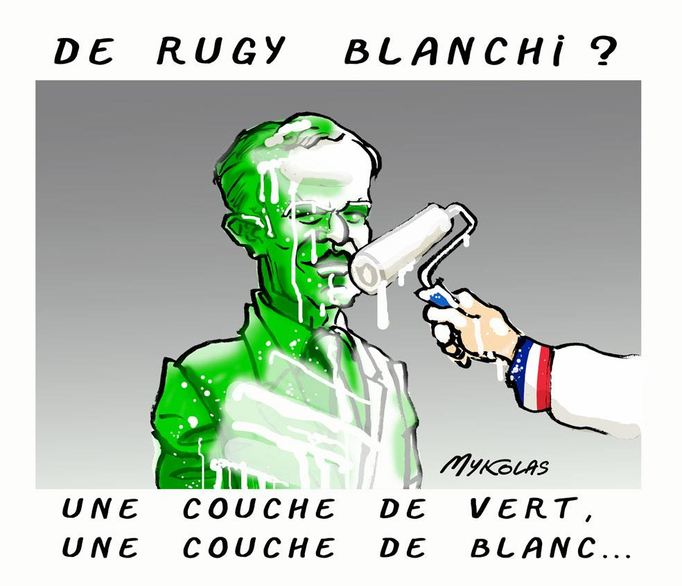 dessin d'actualité humoristique sur le scandale des dîners de François de Rugy et son blanchiment