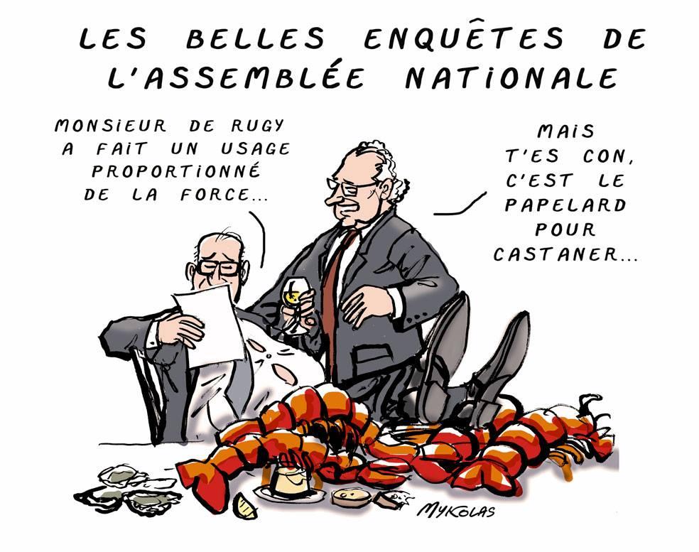 dessin d'actualité humoristique sur le scandale des dîners de François de Rugy et l'enquête de l'Assemblée Nationale