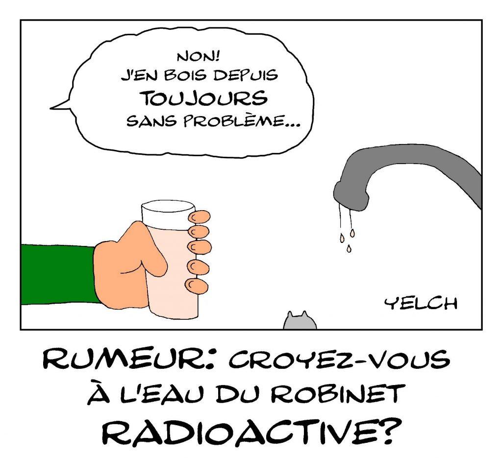 dessin de Yelch sur la contamination de nappes phréatiques par des éléments radioactifs
