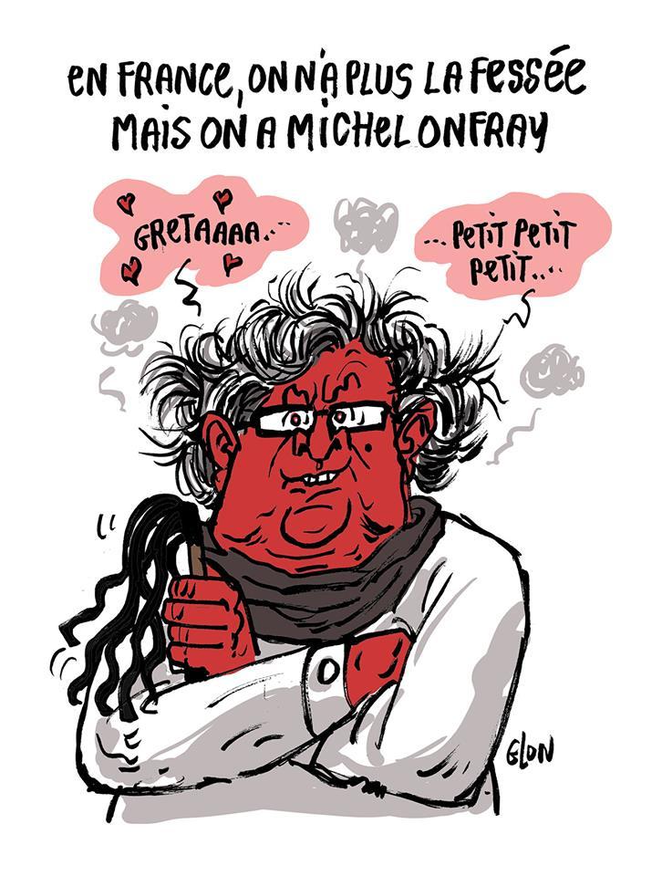 dessin d'actualité humoristique sur la réaction de Michel Onfray face au militantisme de Greta Thunberg