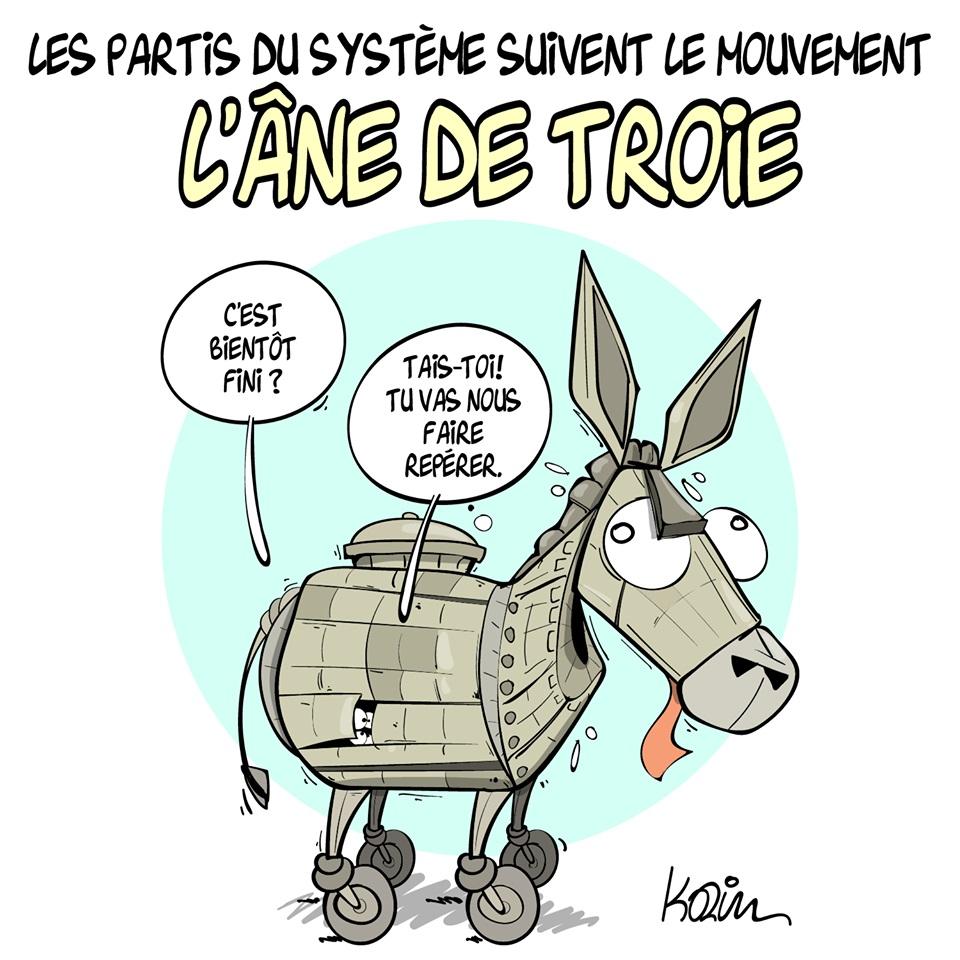 dessin d'actualité humoristique sur les partis du système face au mouvement populaire