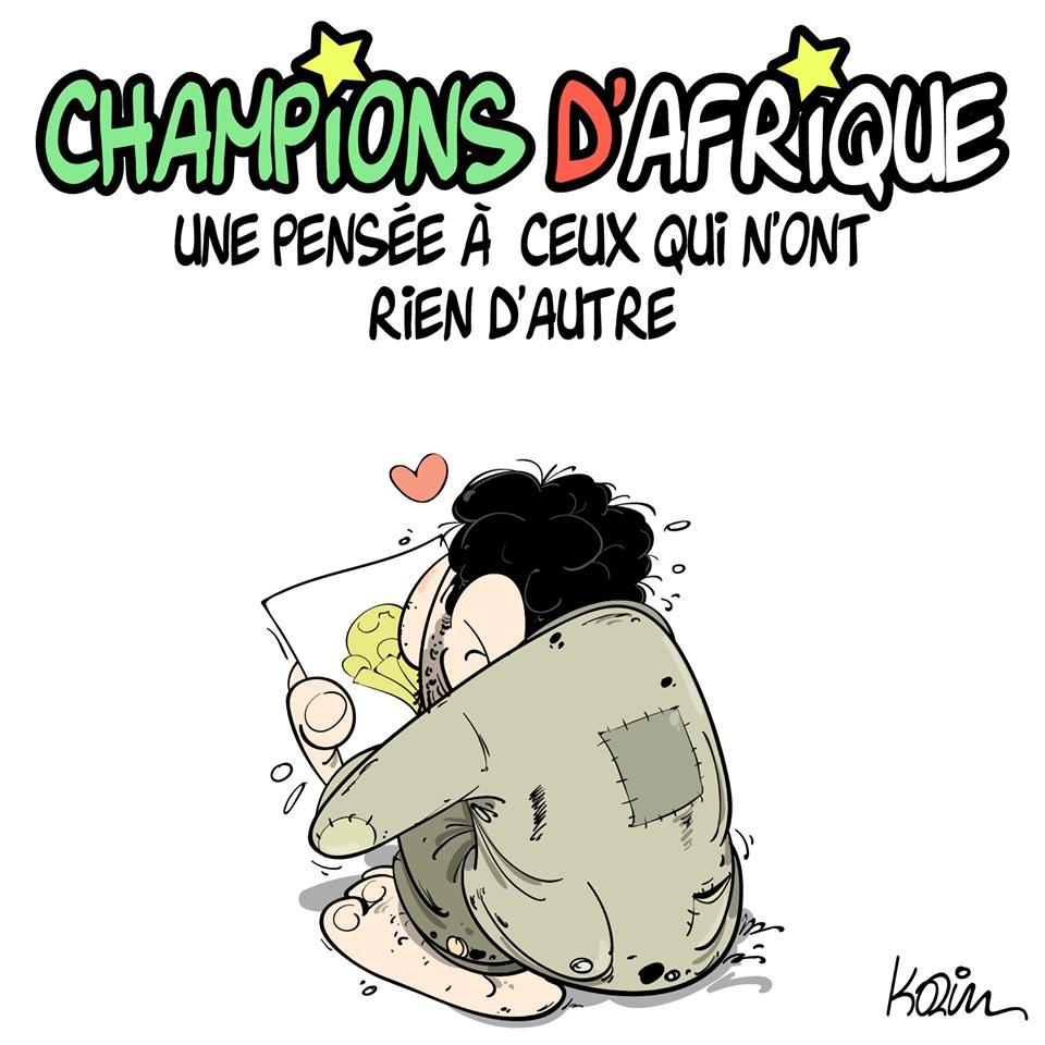 dessin d'actualité humoristique sur la victoire de l'Algérie pour la Coupe d'Afrique des Nations