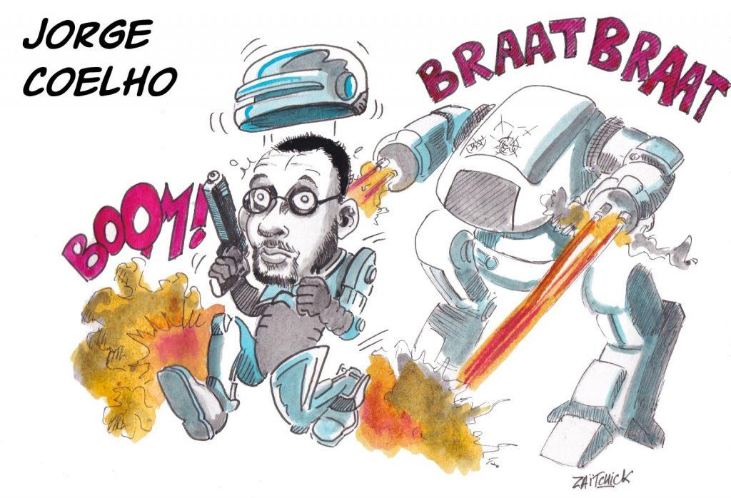 dessin humoristique de Zaïtchick sur la venue de Jorge Coelho à Clermont-Ferrand
