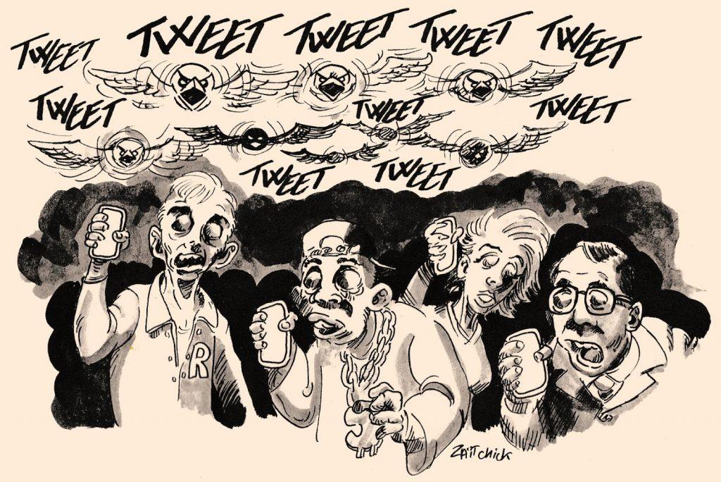 dessin humoristique de Zaïtchick sur zombies des réseaux sociaux