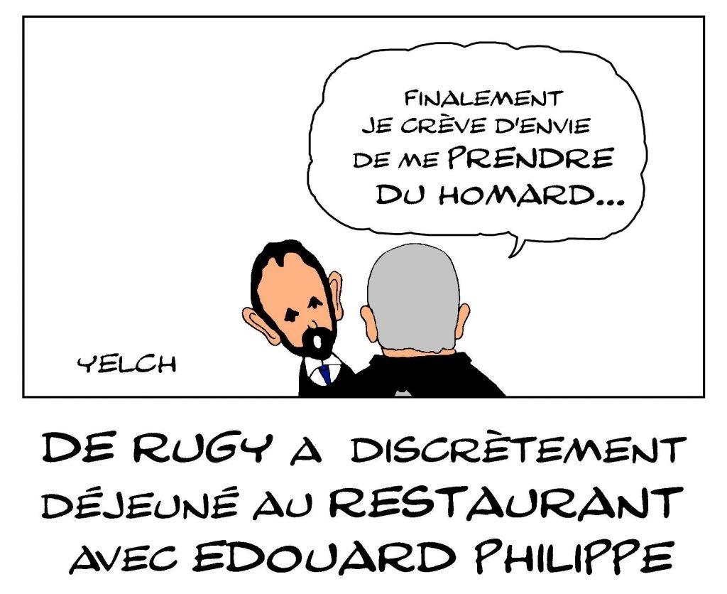 dessin de Yelch sur la rencontre discrète au restaurant entre François de Rugy et Édouard Philippe