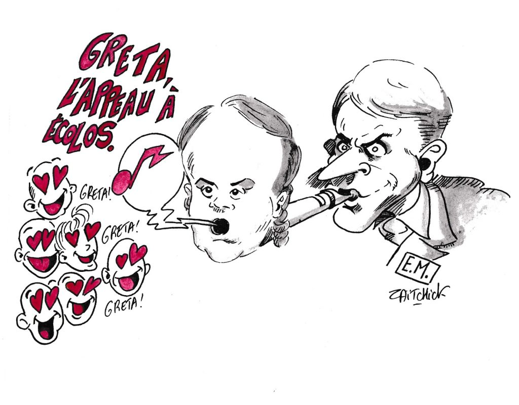 dessin humoristique de Zaïtchick sur l'invitation de Greta Thunberg à l'Assemblée Nationale