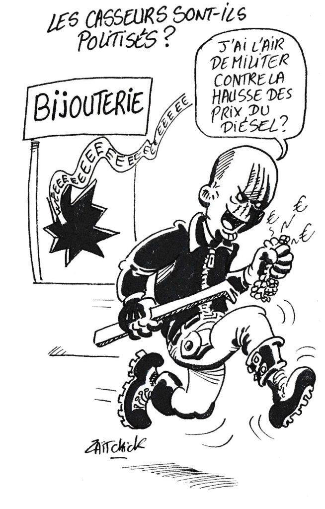 dessin humoristique de Zaïtchick sur la politisation des casseurs