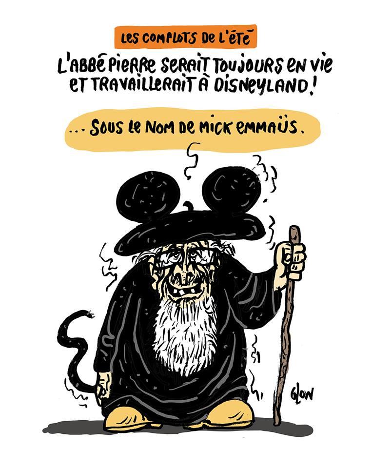 dessin humoristique de Glon sur le complotisme et l'Abbé Pierre