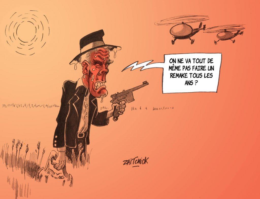 dessin humoristique de Zaïtchick sur la canicule et le film Canicule