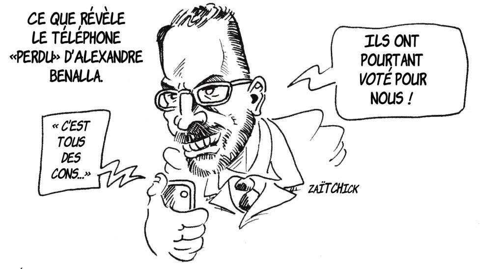 dessin humoristique de Zaïtchick sur le téléphone perdu d'Alexandre Benalla et le SMS « tous des cons »