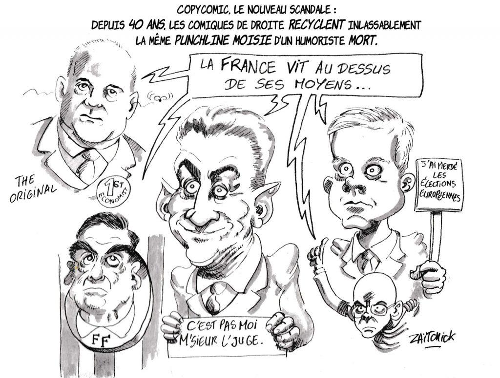 dessin humoristique de Zaïtchick sur les hommes politiques de droite