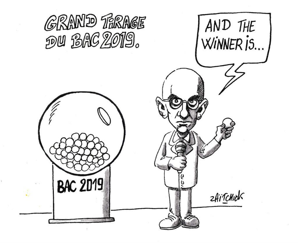 dessin humoristique de Zaïtchick sur les résultats du baccalauréat 2019