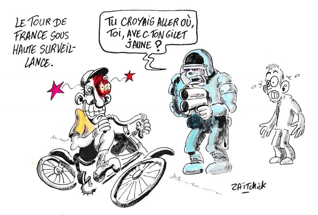 dessin humoristique de Zaïtchick sur le Tour de France, les maillots jaunes et les gilets jaunes
