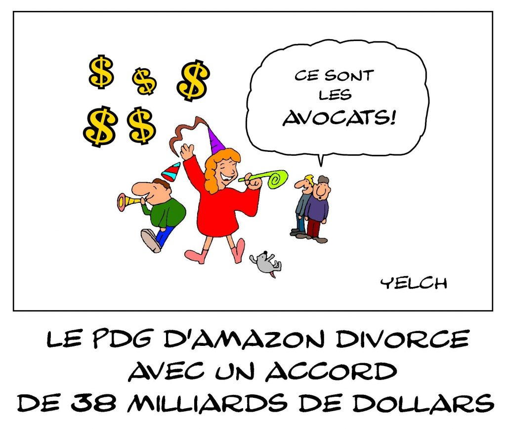 dessin de Yelch sur le divorce du PDG d'Amazon Jeff Bezos