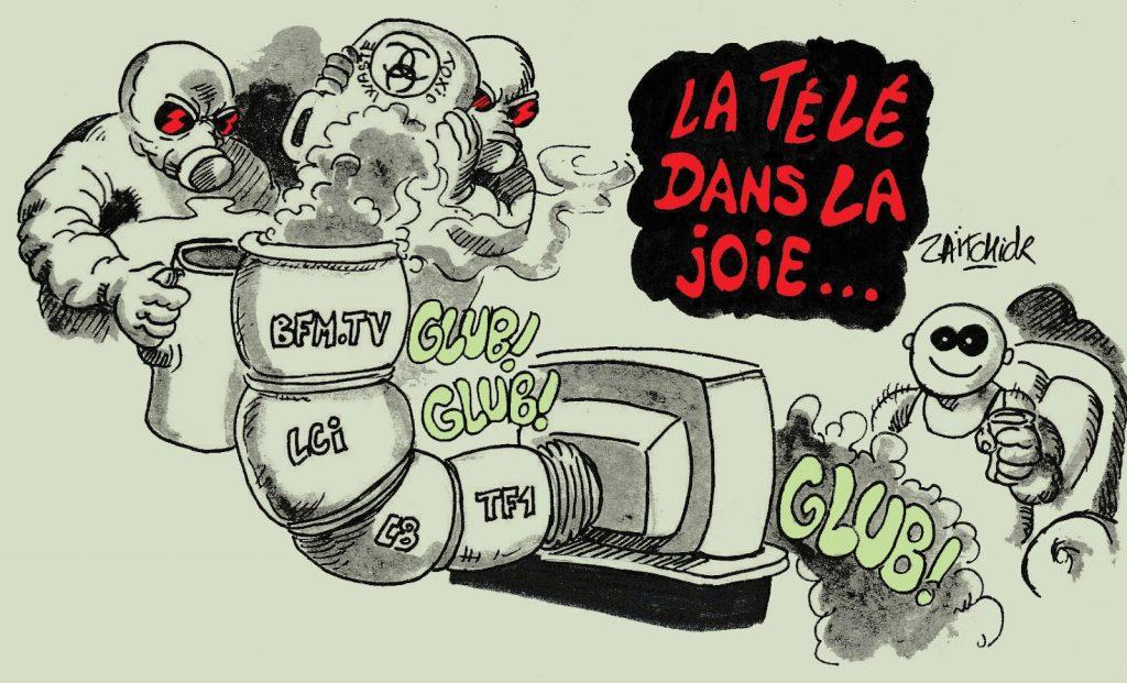 dessin humoristique de Zaïtchick sur la télé poubelle