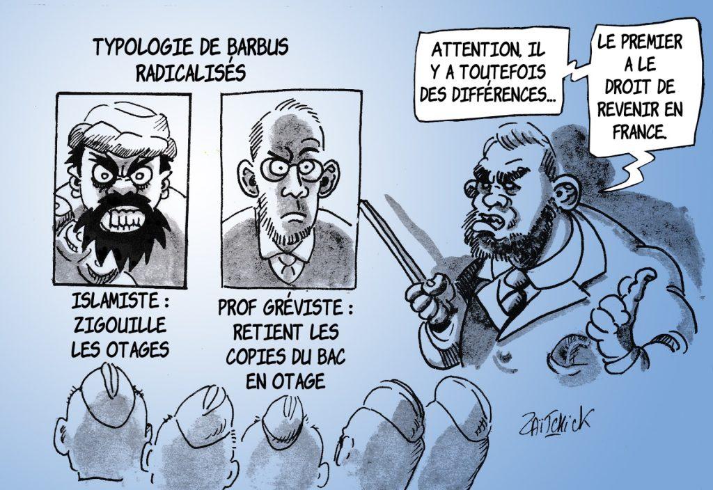 dessin humoristique de Zaïtchick sur la rétention des copies du Bac par les professeurs