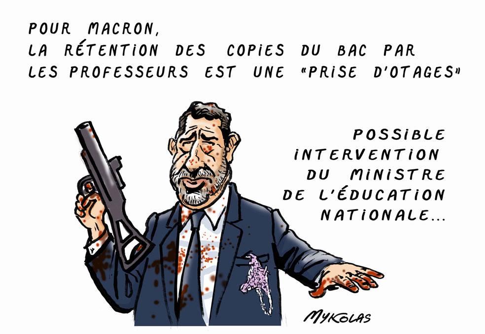 dessin d'actualité humoristique sur rétention des copies du Bac par les professeurs