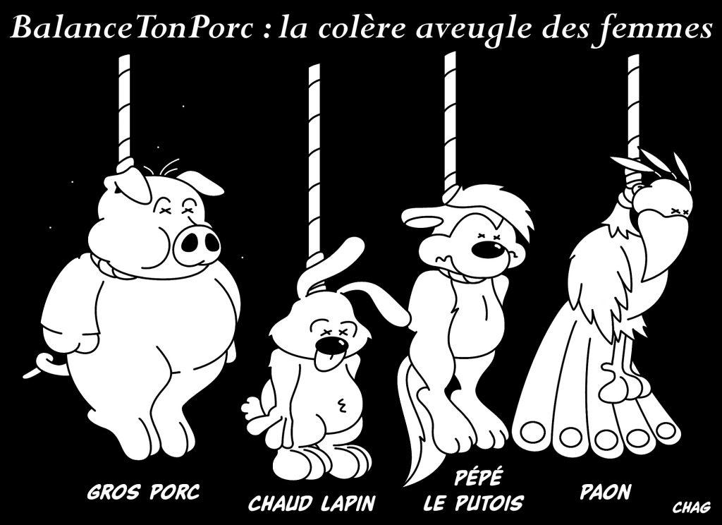 dessin d'humour de Chag sur le mouvement BalanceTonPorc