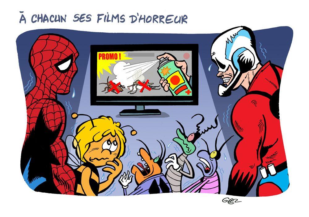 Dessin humoristique de Glez sur les films d'horreur de Spider-Man, Ant-Man, Oggy et les Cafards et Maya l'Abeille