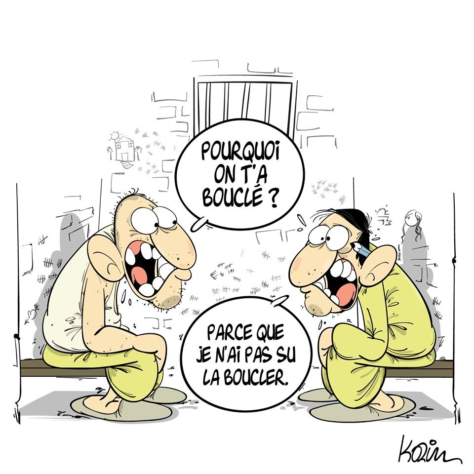 dessin d'actualité humoristique sur la liberté d'expression et les incarcérations