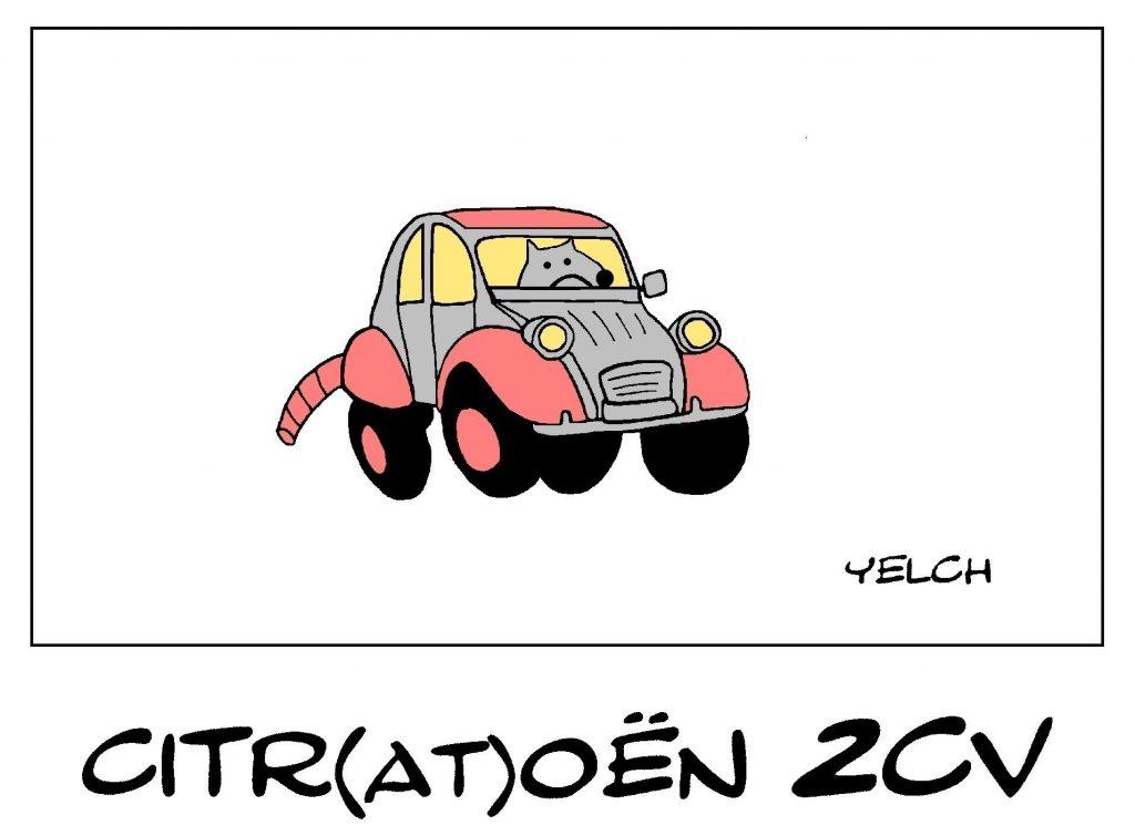 dessin de Yelch sur la Citroën 2CV