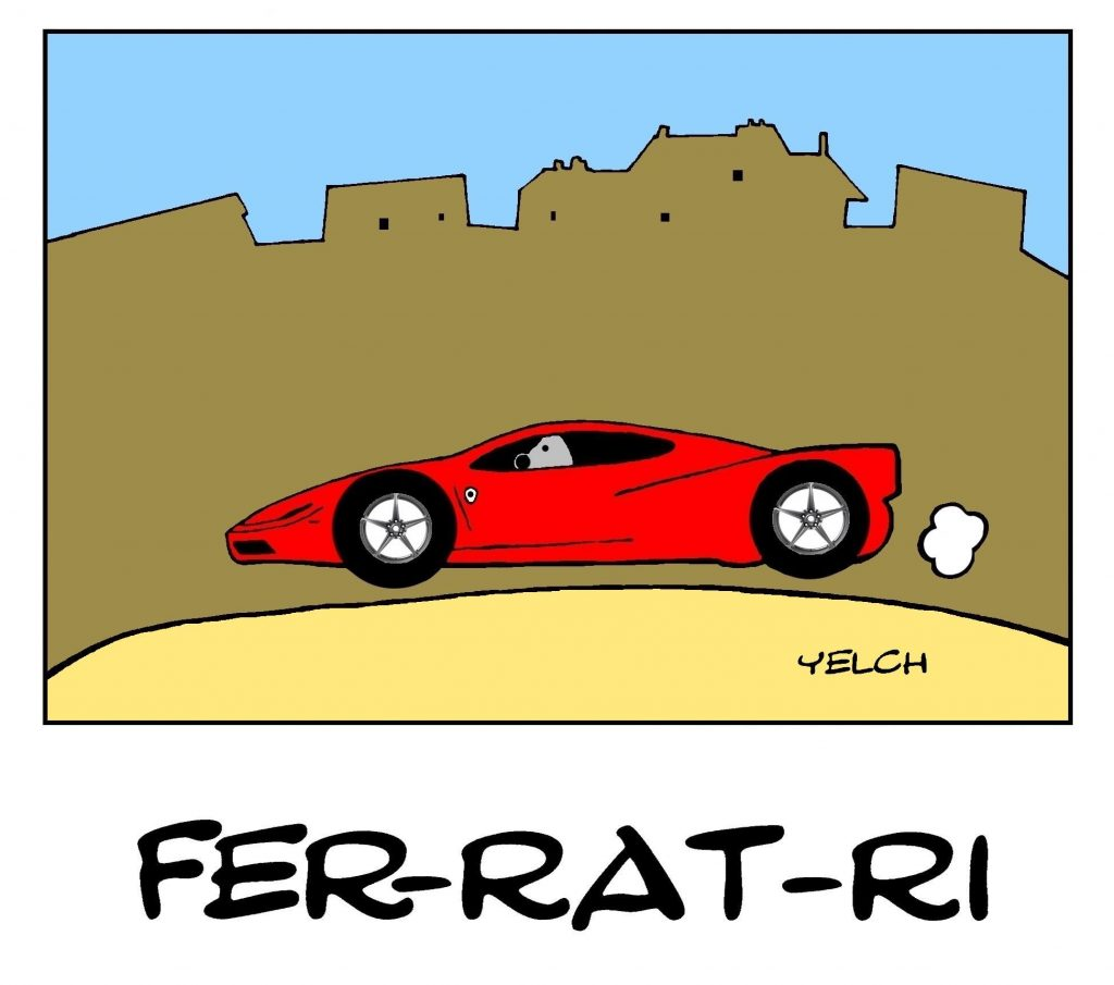 dessin de Yelch sur les voitures Ferrari