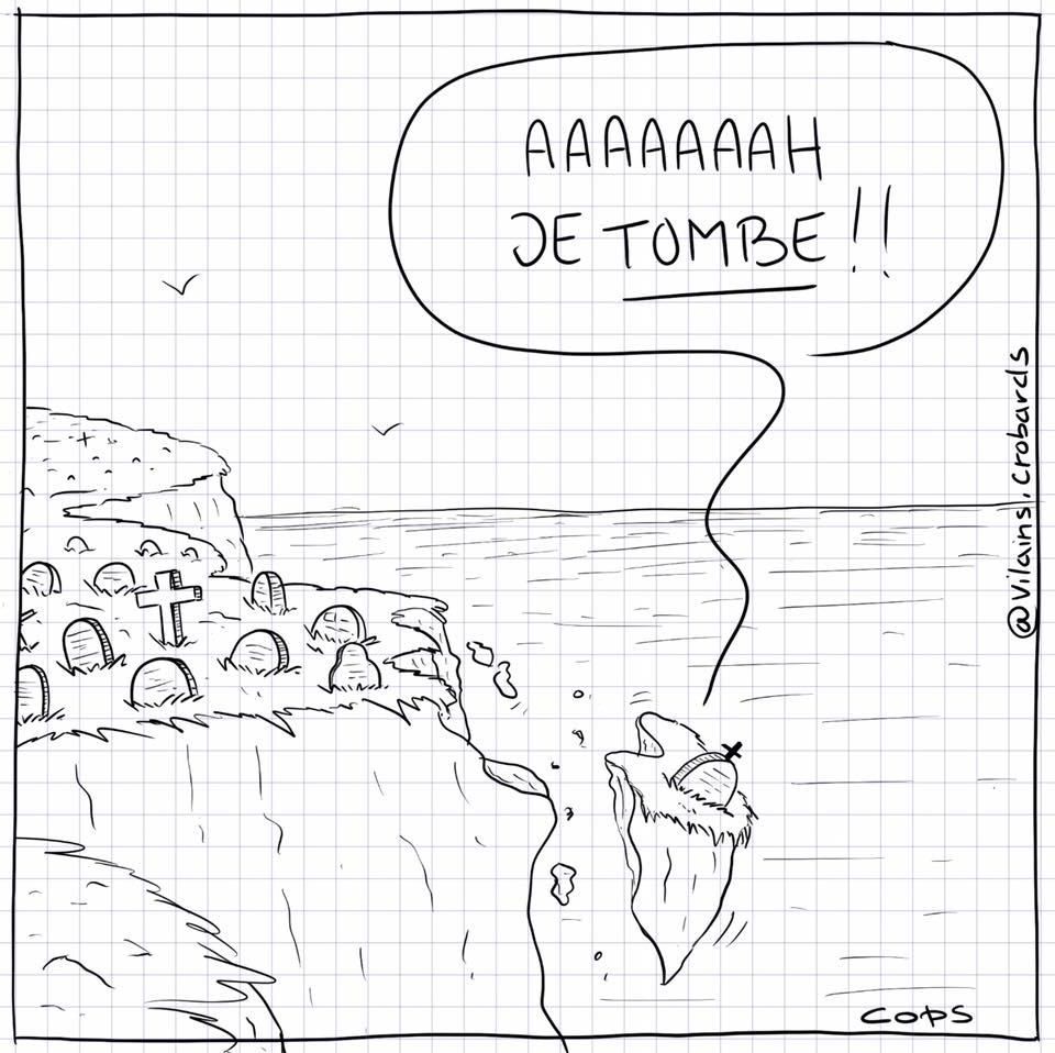 dessin de Cops sur les tombes qui tombent