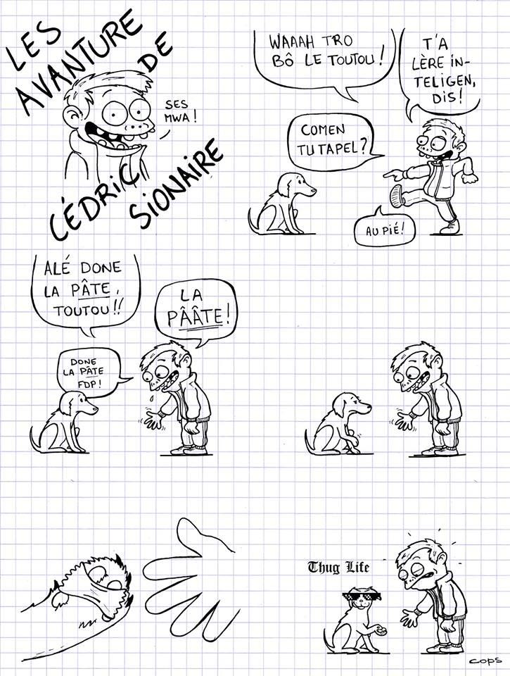 dessin de Cops sur Cédric Sionnaire et la pâte du chien