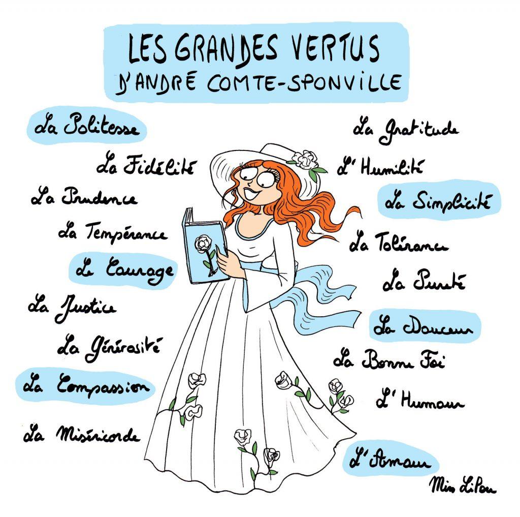 dessin de Miss Lilou sur le Petit traité des grandes vertus d'André Comte-Sponville