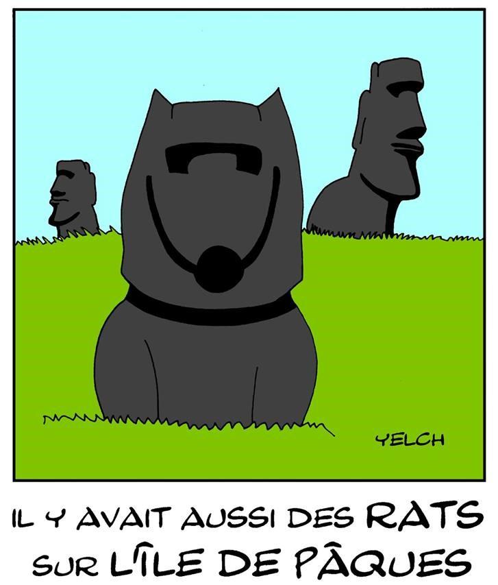 dessin de Yelch sur les rats de l'île de Pâques