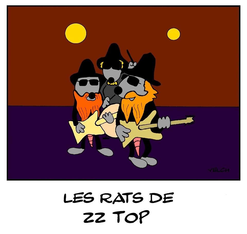 dessin de Yelch sur le groupe de rock américain ZZ Top