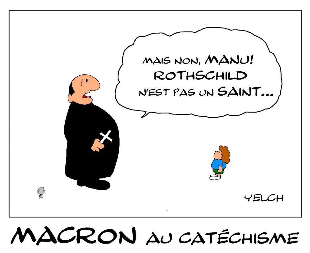 dessin de Yelch sur Emmanuel Macron au catéchisme