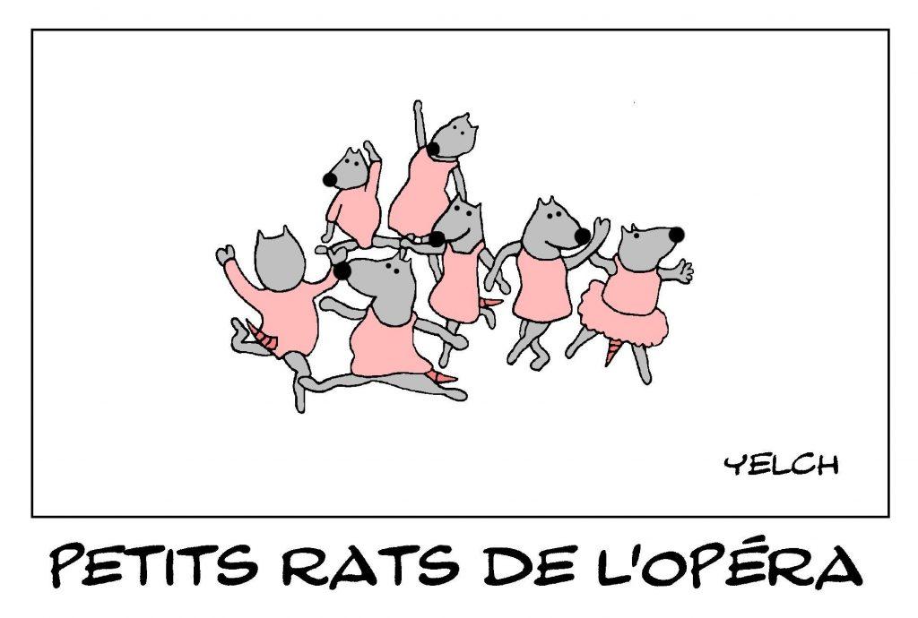dessin de Yelch sur les petits rats de l'Opéra