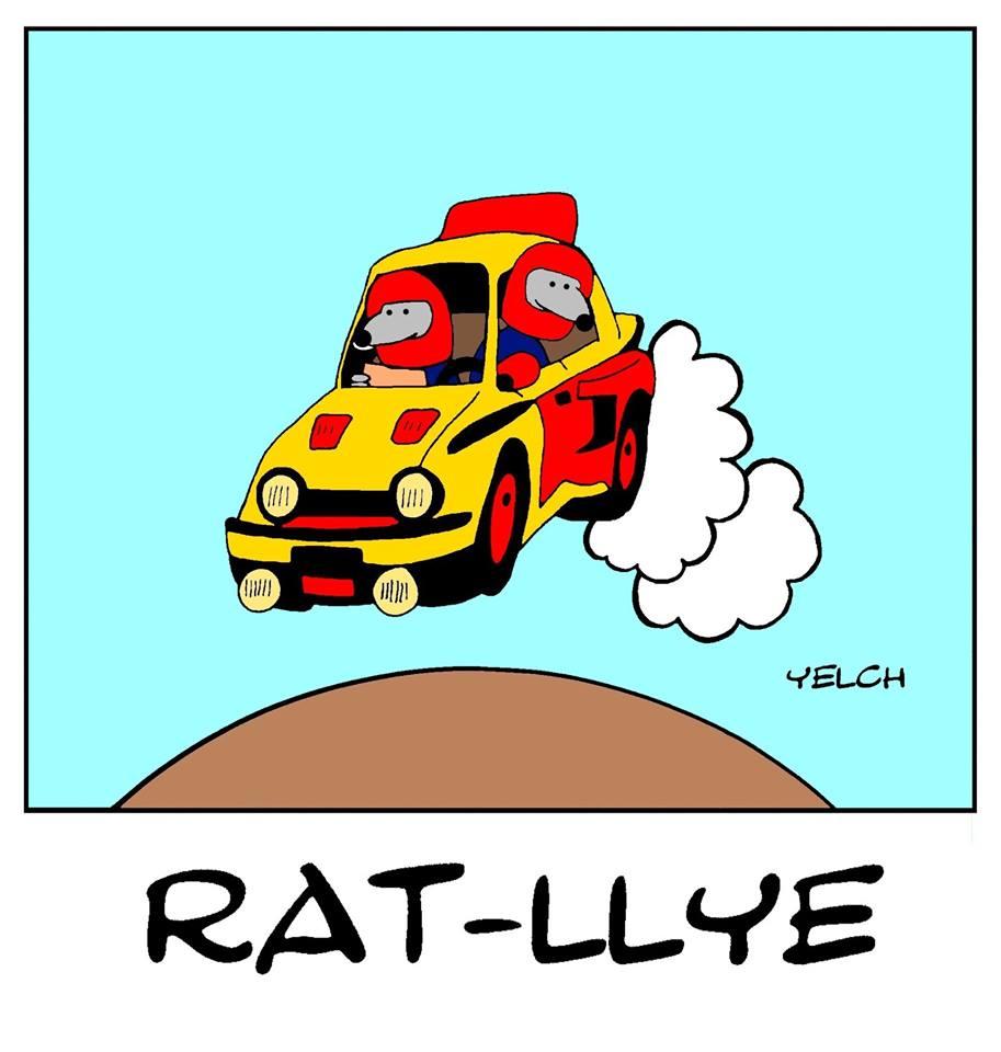 dessin de Yelch sur les rallyes automobiles