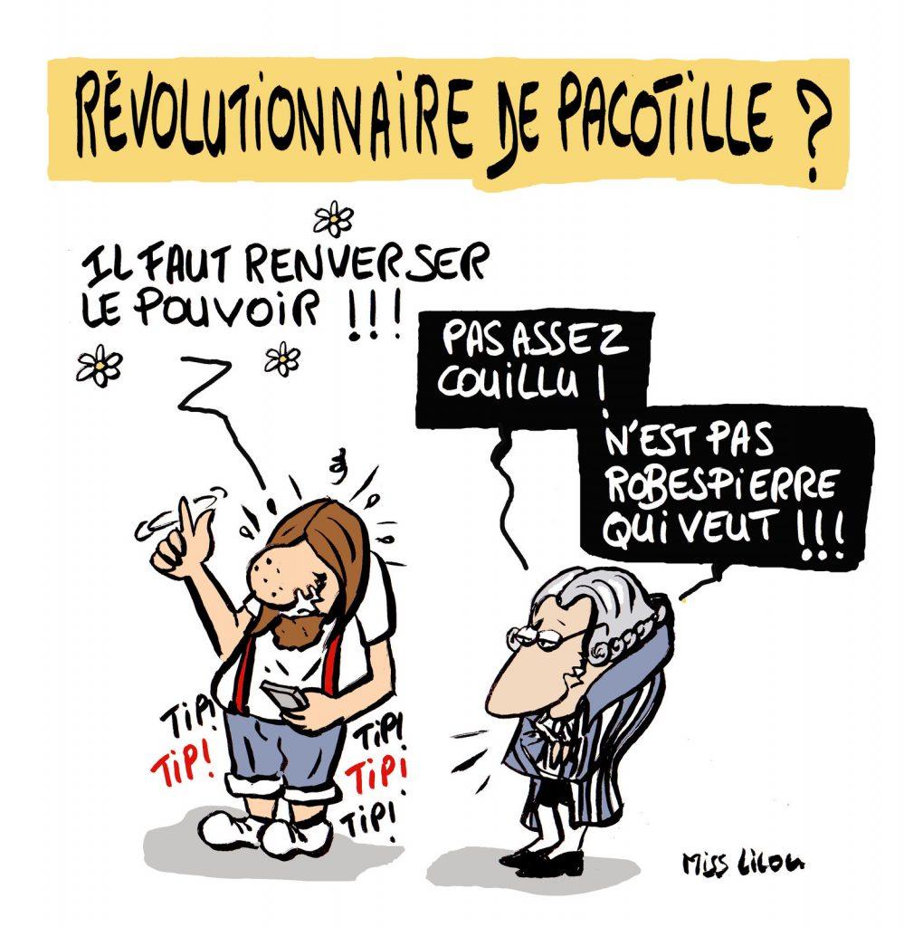 dessin de Miss Lilou sur les révolutionnaires de pacotille