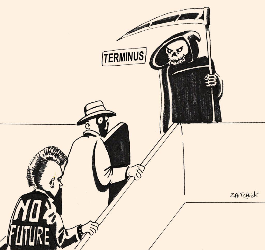 dessin humoristique de Zaïtchick sur la mort inéluctable