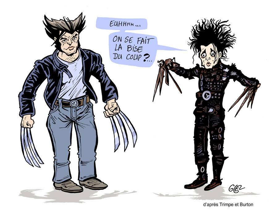 Dessin humoristique de Glez sur la rencontre entre Edward aux mains d'argent et Wolverine